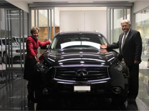 Winner drives off in new Infiniti from OpenRoad Infiniti