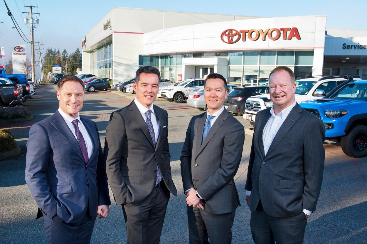 From left: Eric Bjorndal, General Manager, OpenRoad Toyota Peace Arch; Christian Chia CEO, OpenRoad Auto Group, David Lee, Zone Manager, Toyota Canada Inc.; Mike Taylor, Manager of Dealer Development, Toyota Canada Inc.