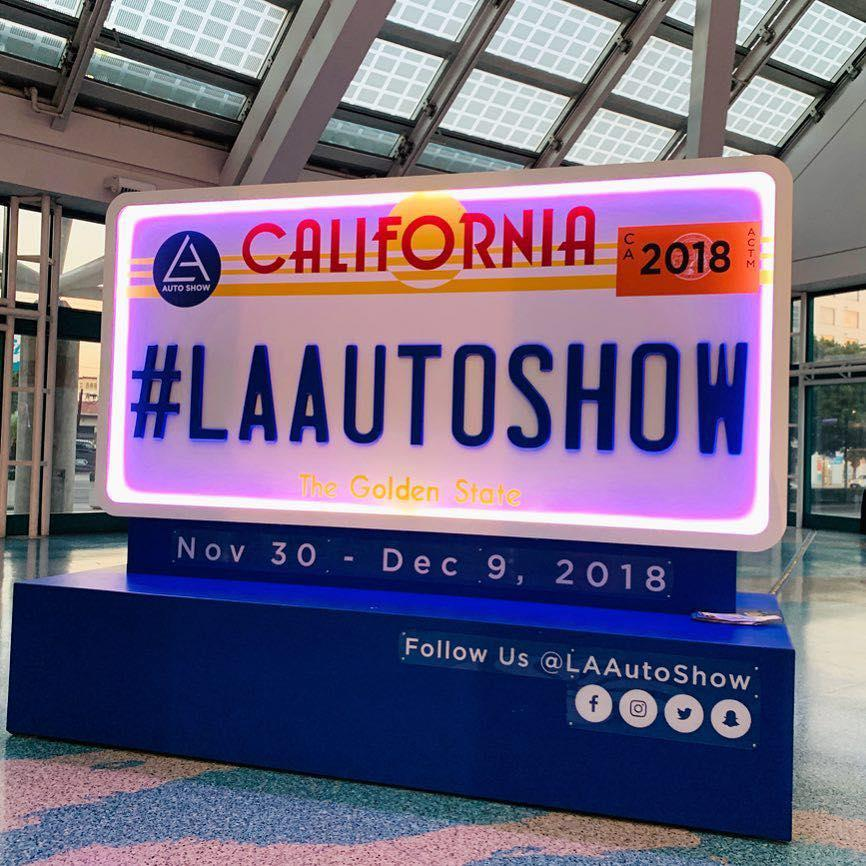 2018 Los Angeles Auto Show license plate sign