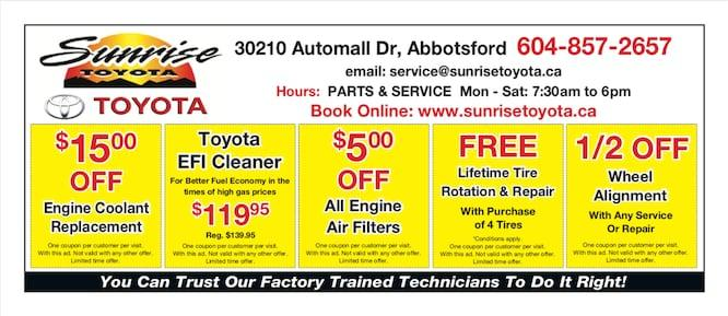 OpenRoad Toyota Abbotsford Service Specials