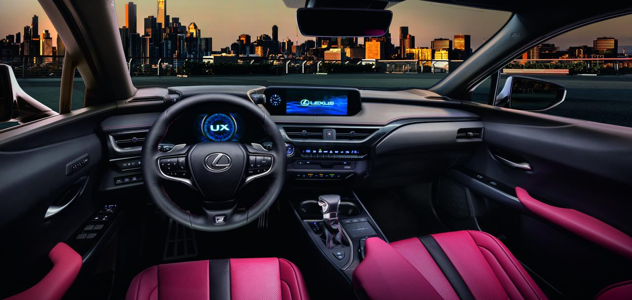 Interior dashboard console of the 2019 Lexus UX