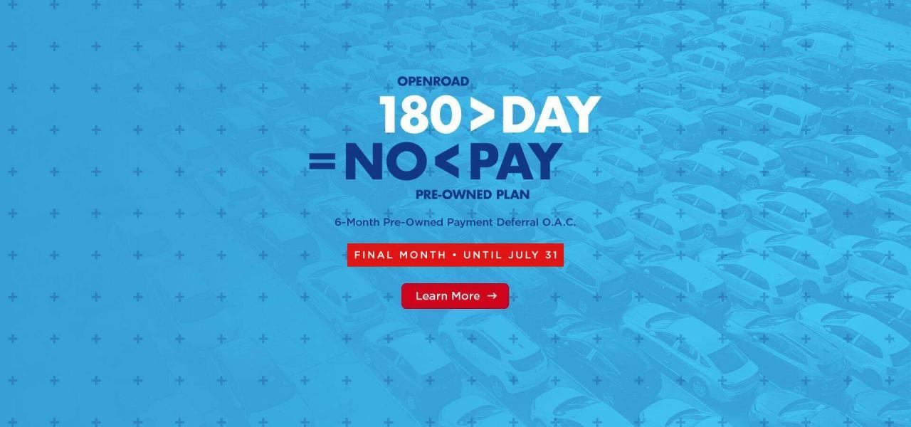 180 day used car payment deferral extended