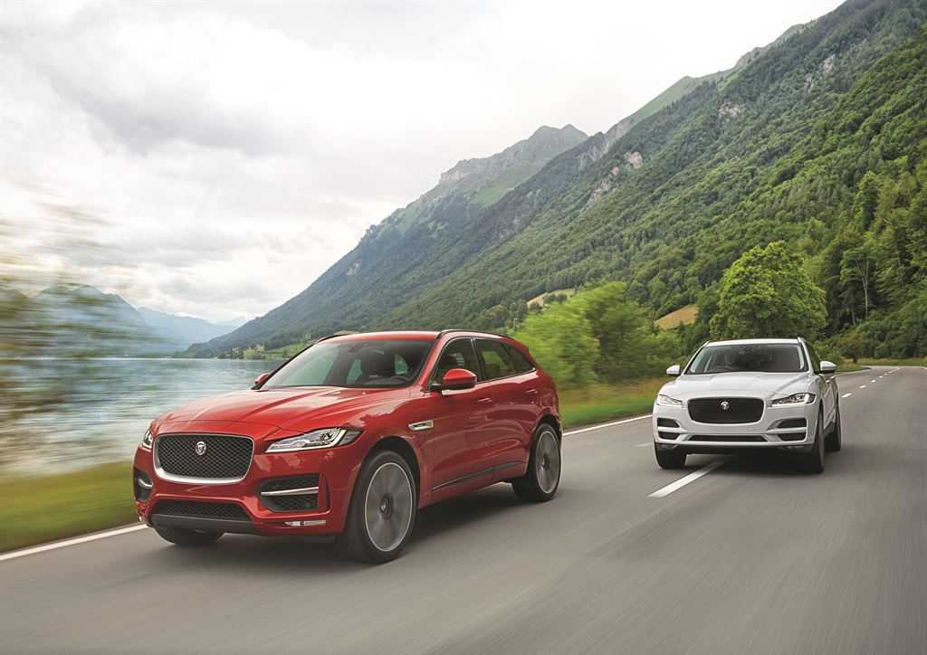 Jaguar F-PACE red and blue