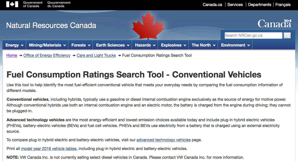 NRCan fuel consumption search tool