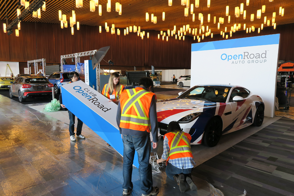 OpenRoad booth setup Vancouver International Auto Show